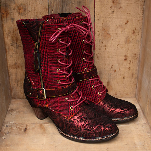 Rouge Tartan & Roses Steampunk Boots By Laura Vita