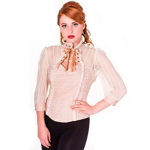 Rise of Dawn Beige Lace Shirt by Banned Retro