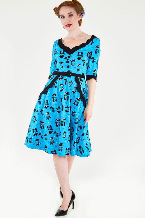 Voodoo Vixen Katnis Blue Flared Cat Dress