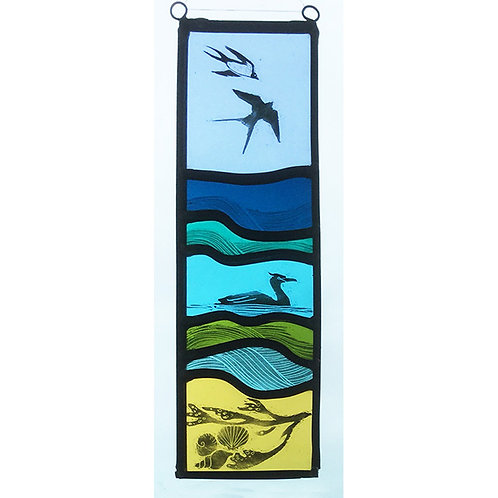 Stained glass hanger with swallows, cormorant and shells