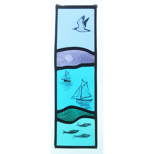 Stained glass hanger with boat, bird & fish