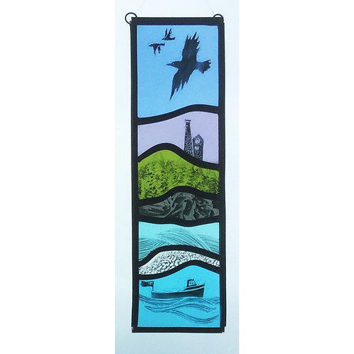 Stained glass hanger with rooks, engine house an boat
