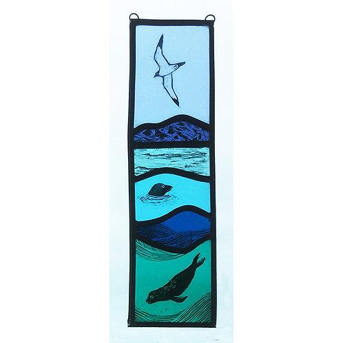 Stained glass hanger. Seals & bird