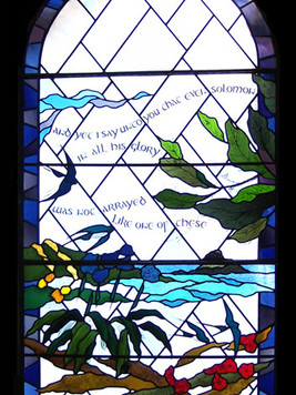 One of four windows in Bryher Church, Isles of Scilly.