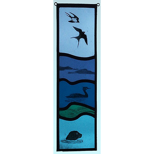 stained glass panel with swallows, shag and seal