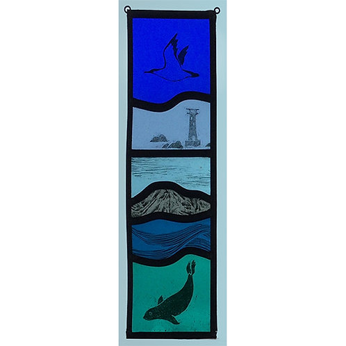 Stained glass panel with bird, lighthouse and seal