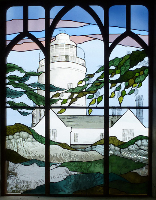 Lighthouse window in St. Agnes Church, Isles of Scilly.