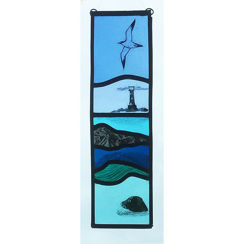 Stained glass hanger, Lighthouse, seal and bird