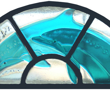Fused glass Dolphin panel