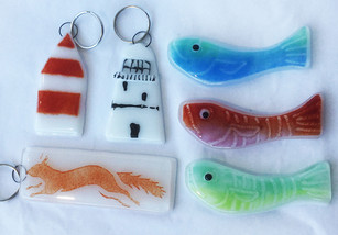 Glass key rings and magnets by Oriel Hicks