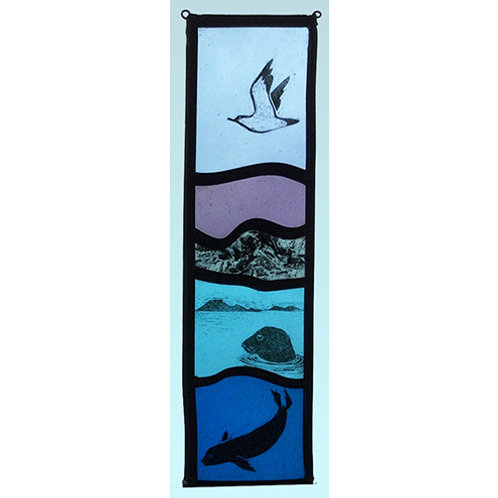 Stained glass hanger with seabird and seals