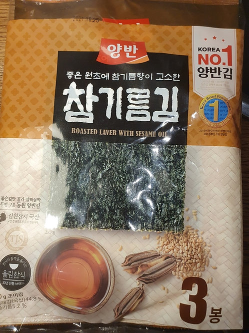 Roasted Laver with sesame oil 참기름 김 3pack