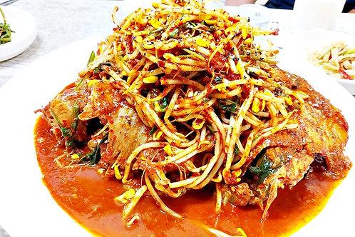 생선찜 Spicy steamed fish 辣炒蒸鱼 Set 1soju 2beers