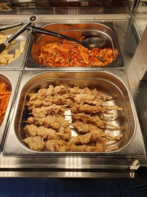 오삼불고기(Spicy squid & pork), 닭꼬치(Chicken skews)