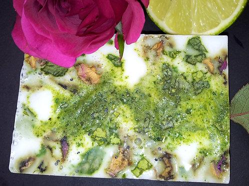 100% Natural Vegan SLS Free Kaffir Lime Leaf and Rose Petal Soap Bar