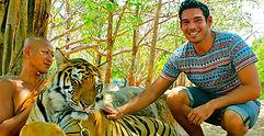 World Traveler Cody Easterbrook in Tiger Kingdom, Bangkok, Thailand