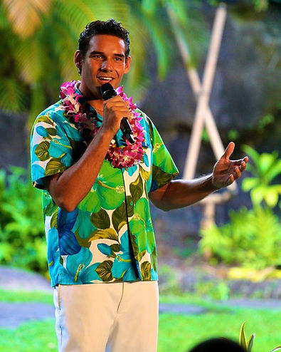 Cousin Cody Easterbrook host of Lu'au at the Polynesian Cultural Center