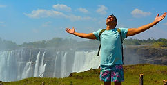 World Traveler Cody Easterbrook at Victoria Falls, Zimbabwe