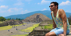World Traveler Cody Easterbrook in Teotihuacan, Mexico ruins