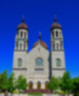 Basilica of Saint Adalbert, front doors, Grand Rapids, Michigan, USA, VFG Creations LLC, Giles Arts LLC