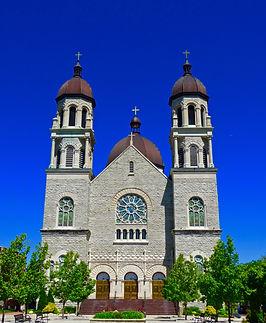Basilica of Saint Adalbert, front doors, Grand Rapids, Michigan, USA, VFG Creations LLC, Giles Arts LLC
