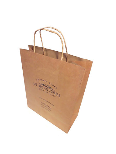 Lot de 500 sacs en papier kraft naturel, format 25X11X32 cm