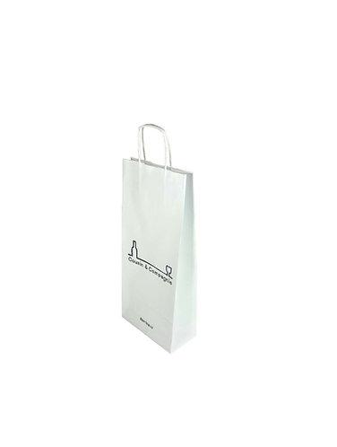 Lot de 400 sacs en papier kraft blanc, format 16X8X39 cm