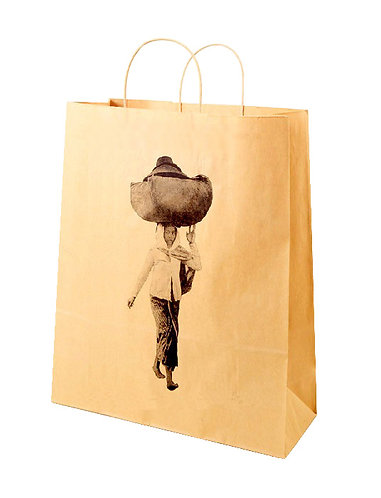 Lot de 2500 sacs en papier kraft naturel, format 31X12X41 cm