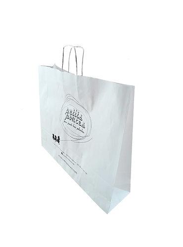 Lot de 1500 sacs en papier kraft blanc lisse, format 45X16X48 cm