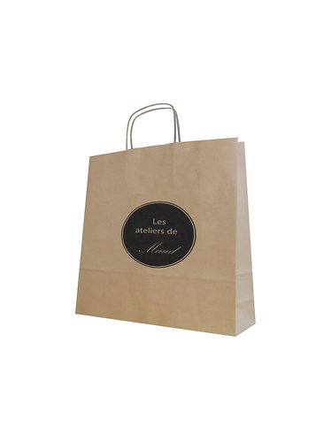 Lot de 2500 sacs en papier kraft naturel, format 45X16X48 cm