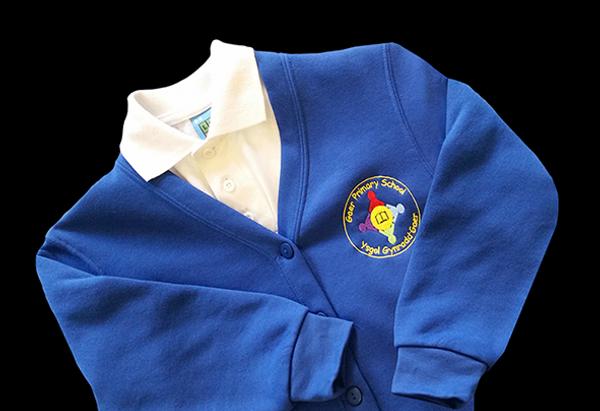 Blue embroidered school uniform