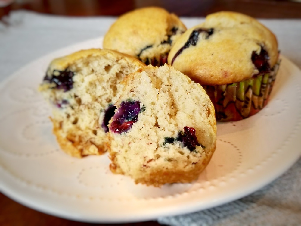 Dairy, Egg, Nut and Gluten-Free Blueberry-Banana Muffins
