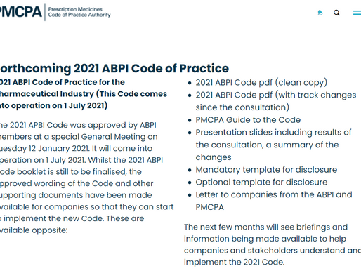 Technical release of the NEW 2021 ABPI Code of Practice