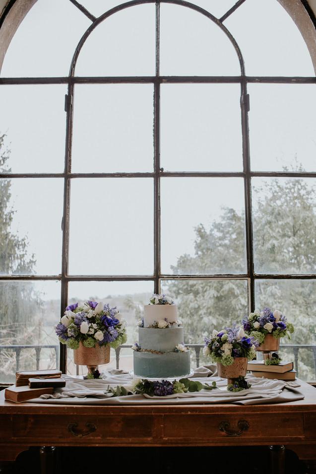 powder blue wedding cake