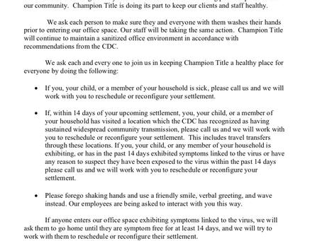 Champion Title COVID-19 Update