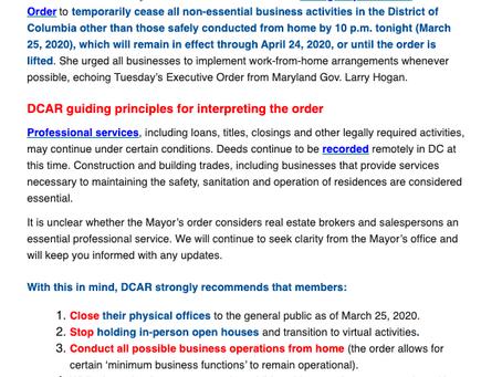 DCAR COVID-19 Update