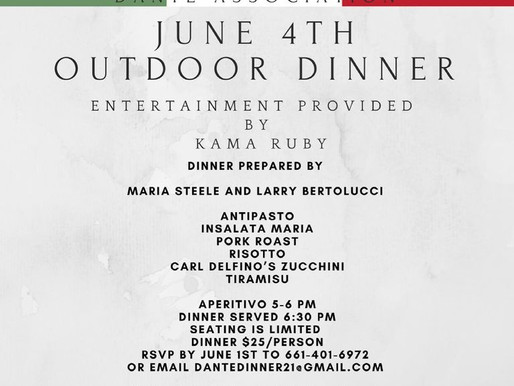 Kama Ruby to Appear at Dante Hall- Italian Heritage Dante Association. Friday, June 4th 2021.