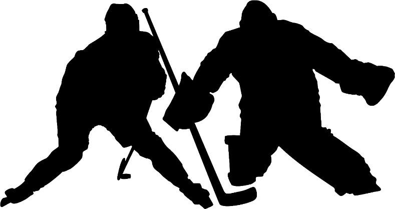 Hockey Player with Goalie Wall Decal