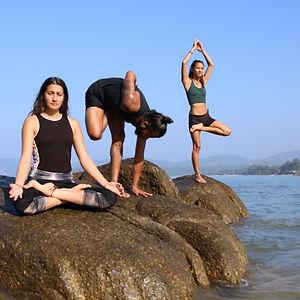 yoga students on agonda beach