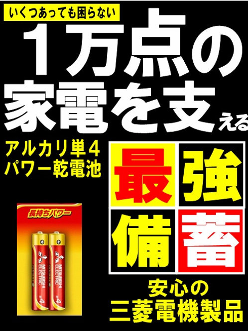 【1本44円】三菱電機 パワーアルカリ乾電池 単3 単4 (2本組)