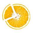 Slice of Juicy Orange in the shape pie c
