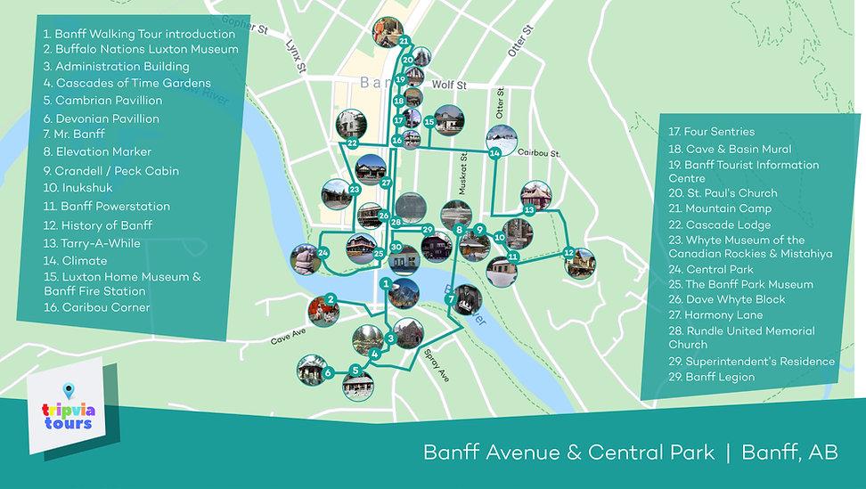 banff audio walking tour map
