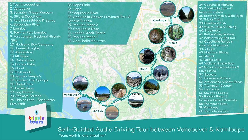 self-guided audio walking tour between vancouver and kamloops