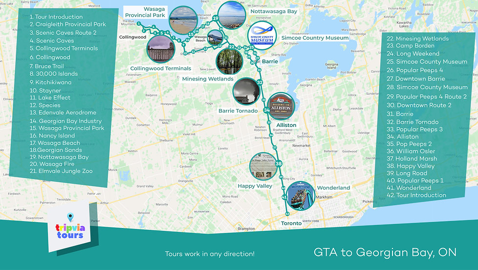 gta to georgian bay collingwood wasaga beach drivng tour map