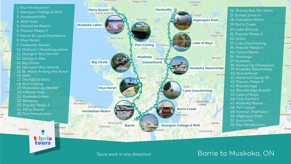 barrie to muskoka driving tour map