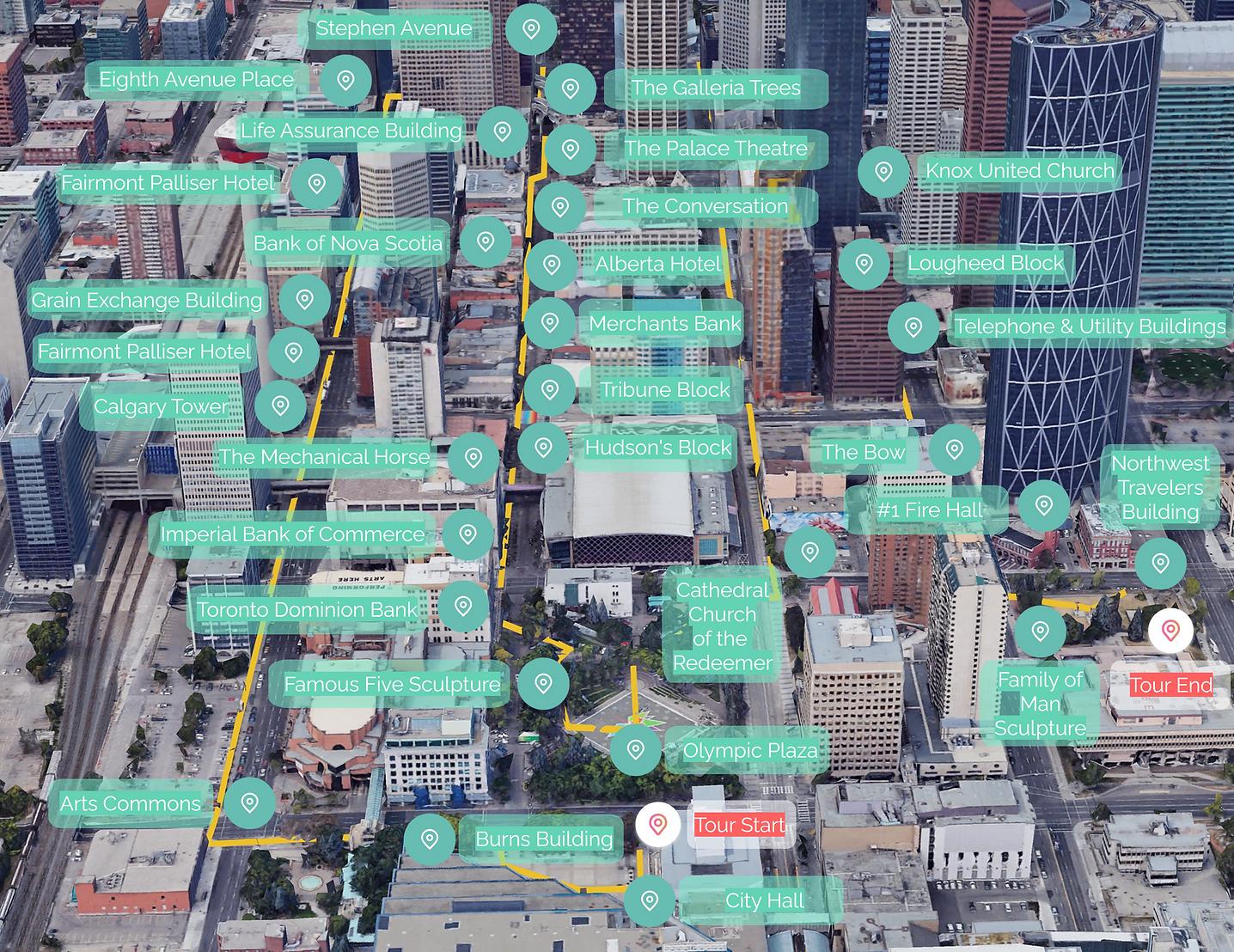 map of downtown calgary audio tour