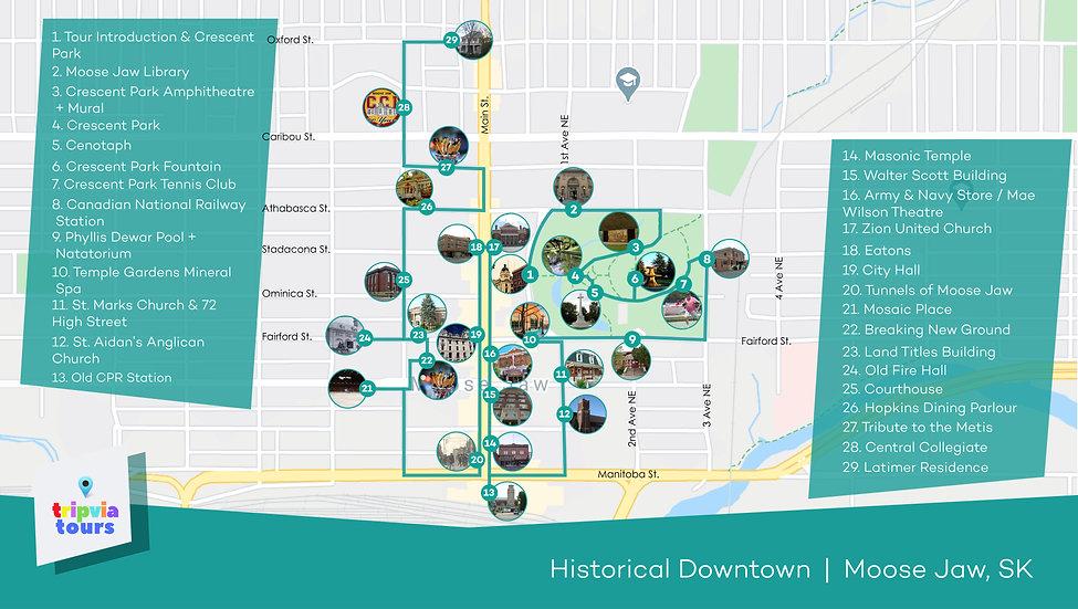downtown moose jaw audio walking tour map
