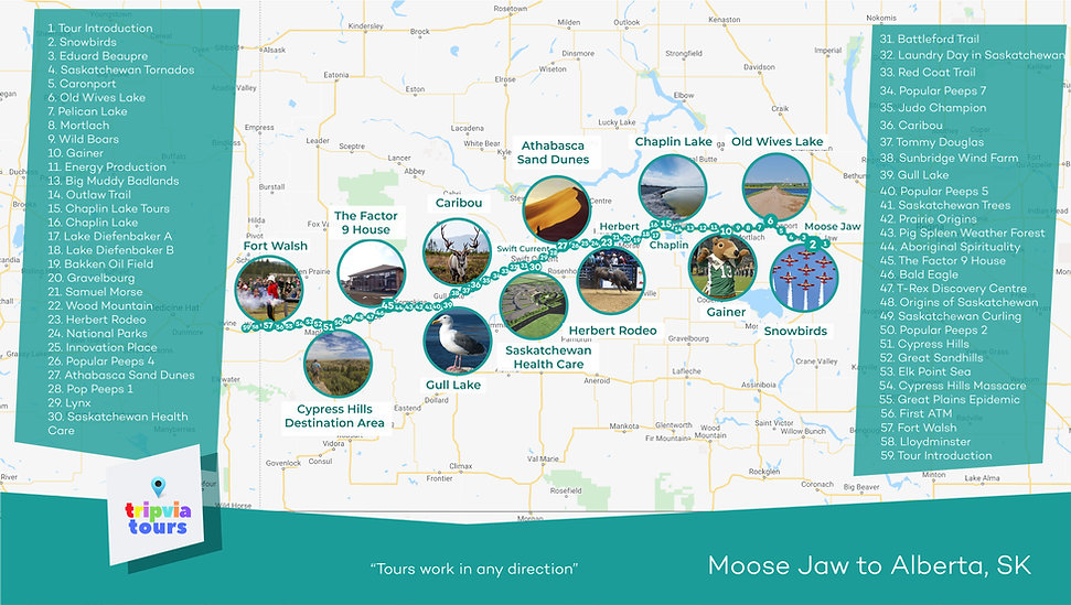 moose jaw to aberta audio driving tour map