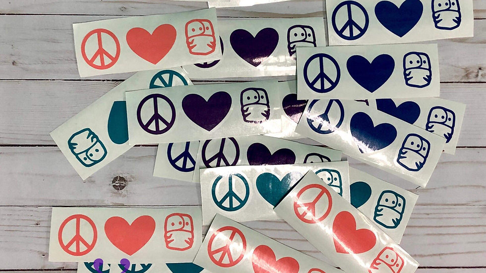 Peace, Love, Cloth Diaper decal