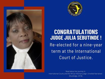 Congratulations to Judge Julia Sebutinde of the International Court of Justice.